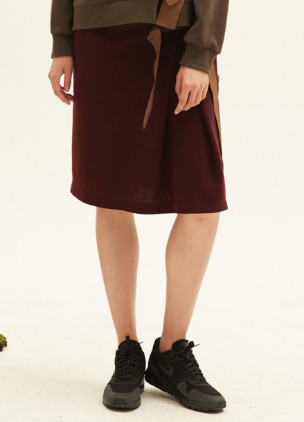 TAPE DETAIL KNIT SKIRT(WN)