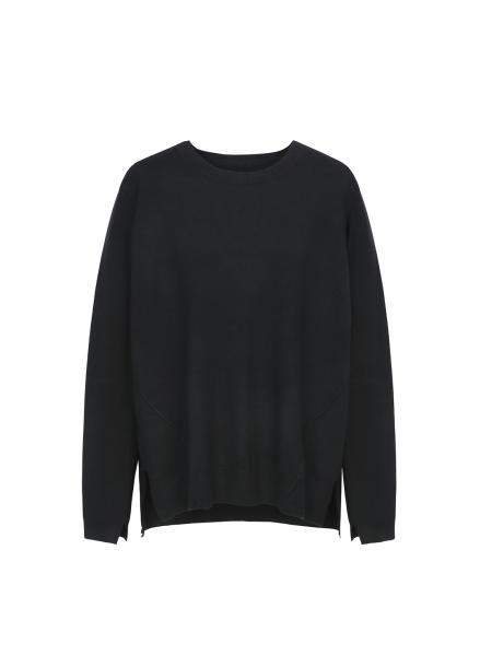 ★ Slit Detail Round Neck Pullover