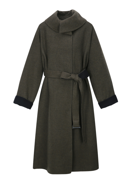Cashmere Colorblock Strap Coat