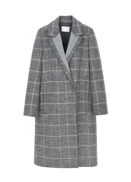 Check Collar Point Coat