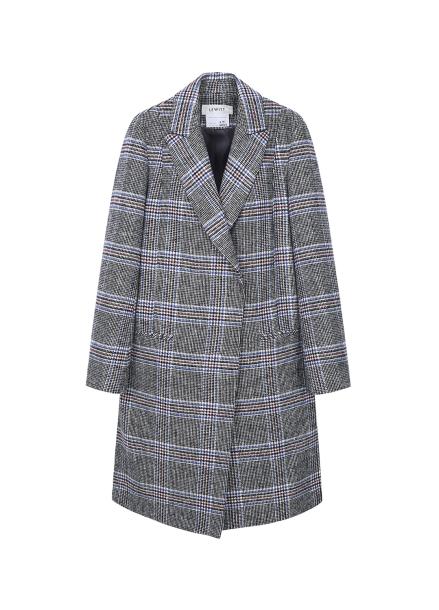 ★ Wool Blend Cooling Check Coat