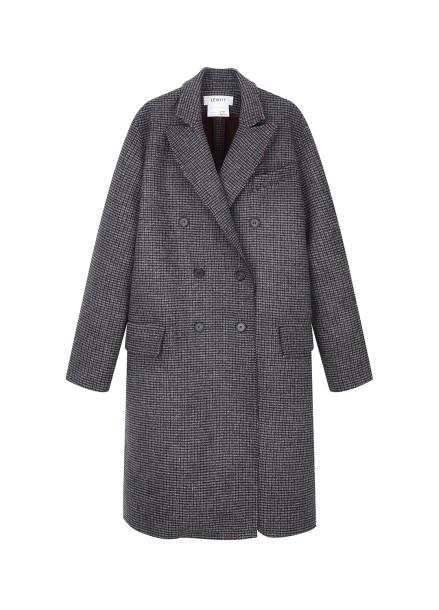 ★ Wool Blend Classic Check Long Coat