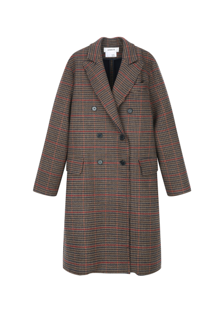 ★ Wool Blend Classic Check Long Coat
