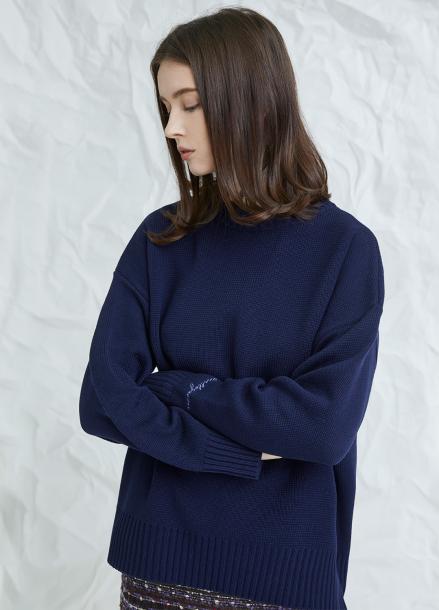 [MILLOGLEM/17WINTER/7%SALE] embroideried cuffs sweater - navy