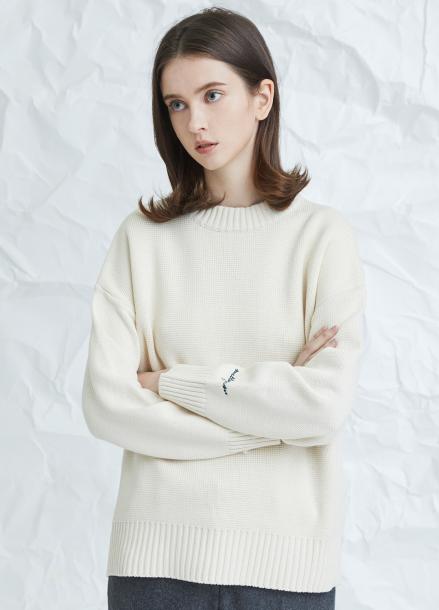 [MILLOGLEM/17WINTER/7%SALE] embroideried cuffs sweater - ivory