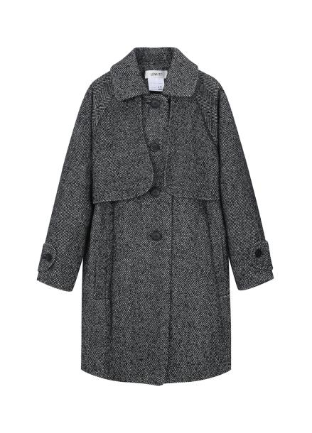 ★ Herringbone Stand Collar Coat