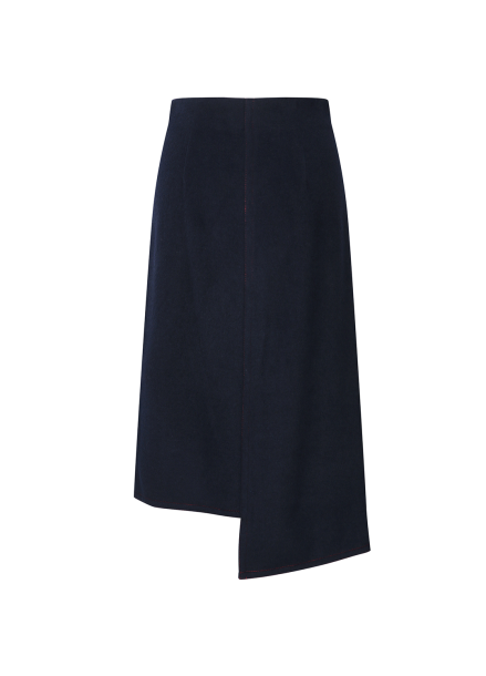 [단독55%할인] Wool Blend Unbalance Long Skirt