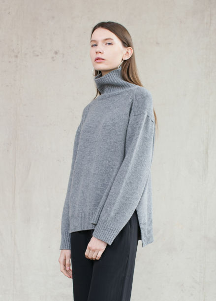 17 WINTER WOOL CASHMERE TURTLE NECK KNIT_GREY