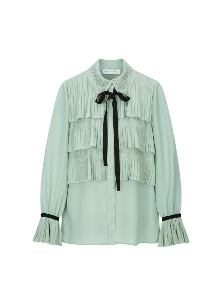 Cancan Pleats Lace Collar Tie Blouse