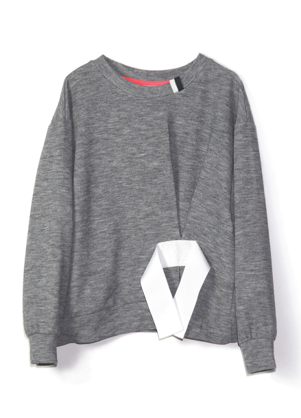 Tape Detail Knit-Melange Grey