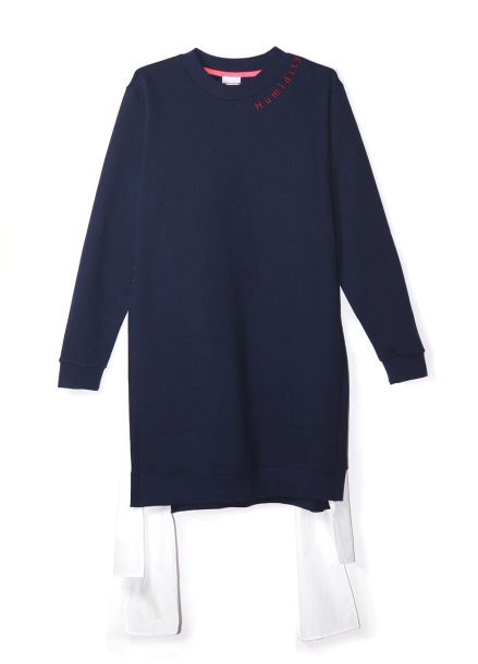 COTTON MATCHING NAPPING DRESS-NAVY