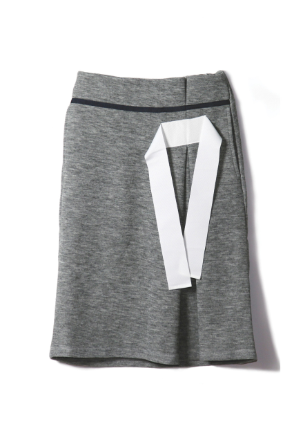 TAPE DETAIL KNIT SKIRT-MELANGE GREY