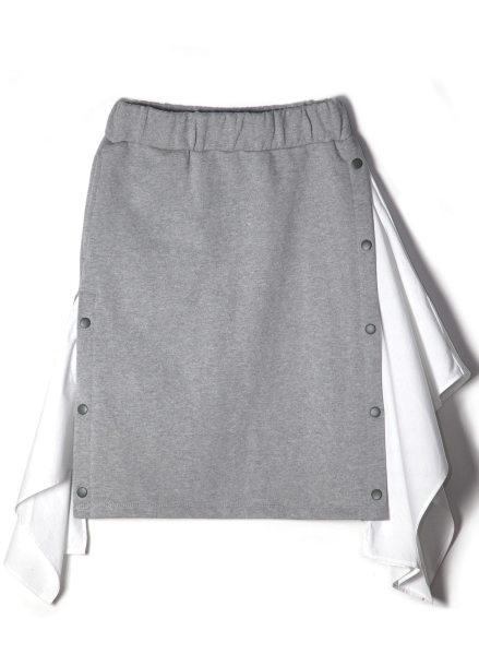 COTTON MATCHING SWEATSKIRT-MELANGE GREY