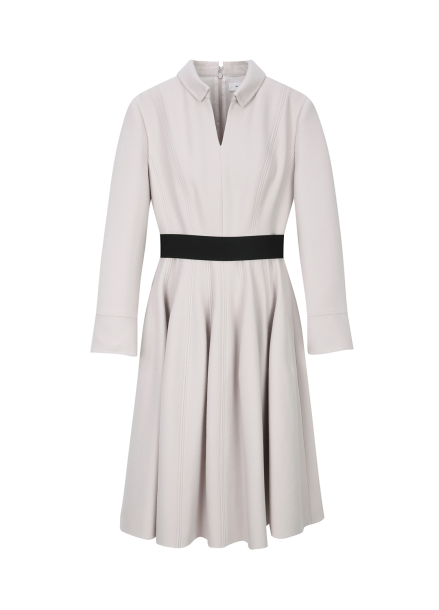 ○V- Neck Belt Wool Dress