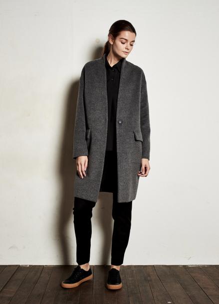 [The Kstory] Simple Wool Coat _ Grey