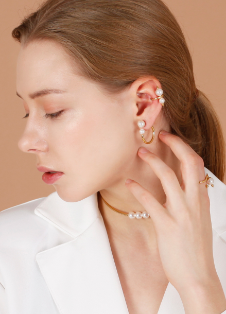 PEARL RING EARRING[DL17FWER12GDF]