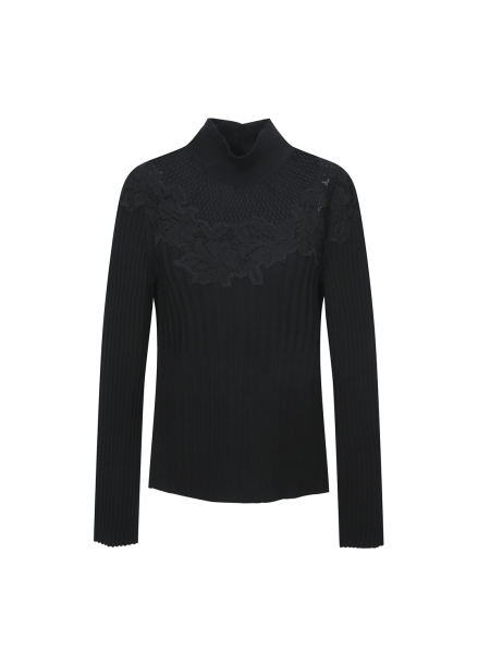 Mesh Lace Embroidered Pullover