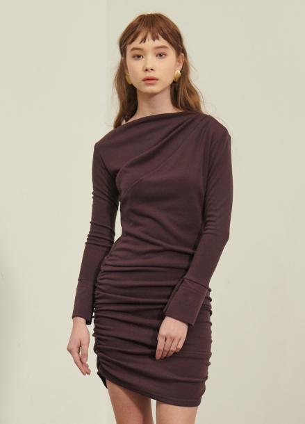 [SALON DE YOHN/시즌오프 단독30%]Shirring Dress_Brown