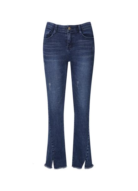 Hemline Cutting Detail Bootscut Jeans