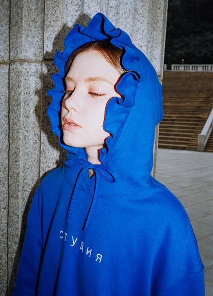[CLUT STUDIO/시즌오프!/25%] 0 4 studio ruffle hoody - BLUE