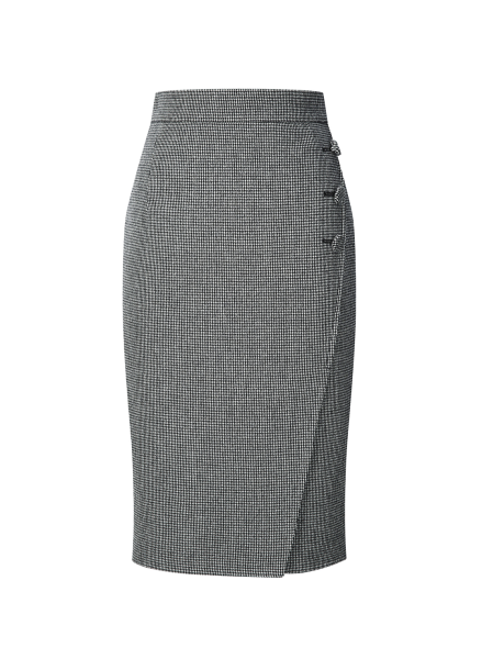 Hound's tooth Button H-Line Skirt