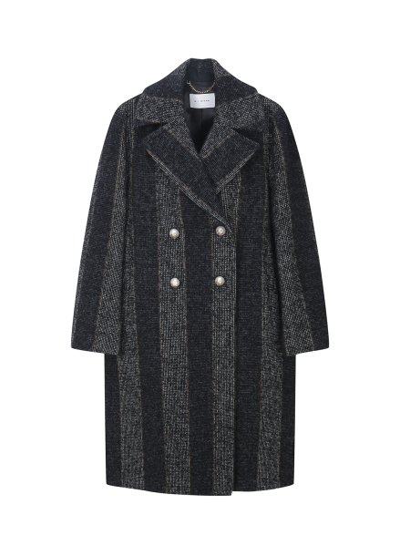 Big Stripe Peal Button Coat