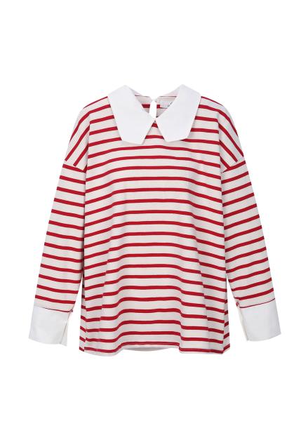 [30%] Collar Detail Striped T-Shirts