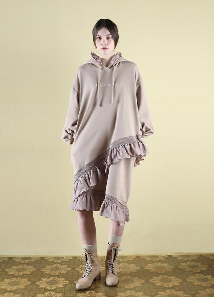 [CLUT STUDIO] 0 5 ruffle hood dress - beige