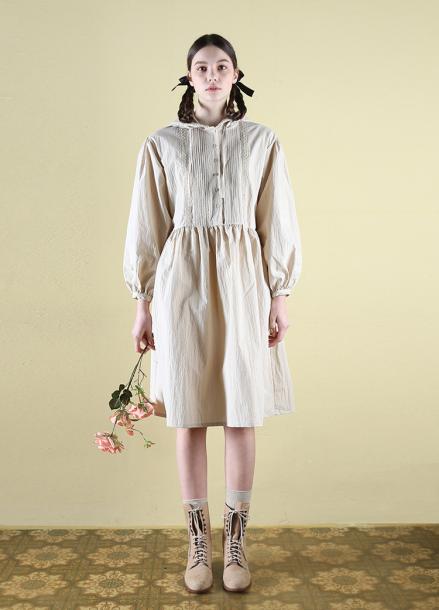 [CLUT STUDIO] 0 6 pintuck hood dress - beige