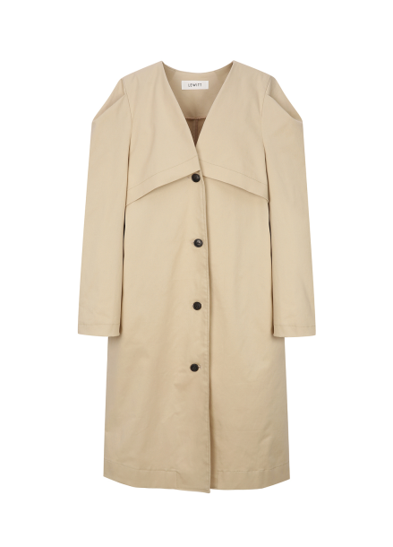 V-Neck Single Button Trench Coat