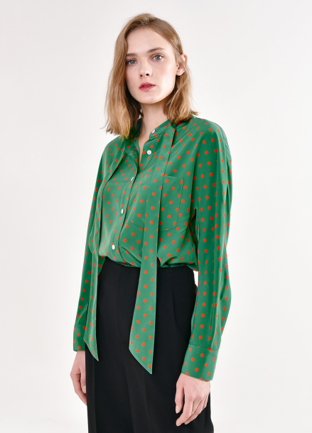 [PINBLACK/단독20%+5%SALE] Dot tied neck blouse GREEN