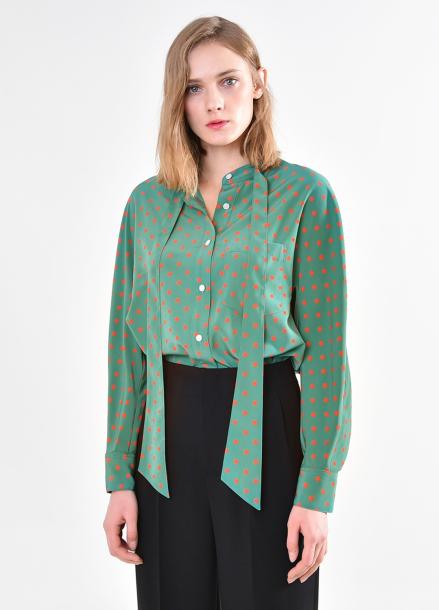 [PINBLACK] Dot tied neck blouse GREEN