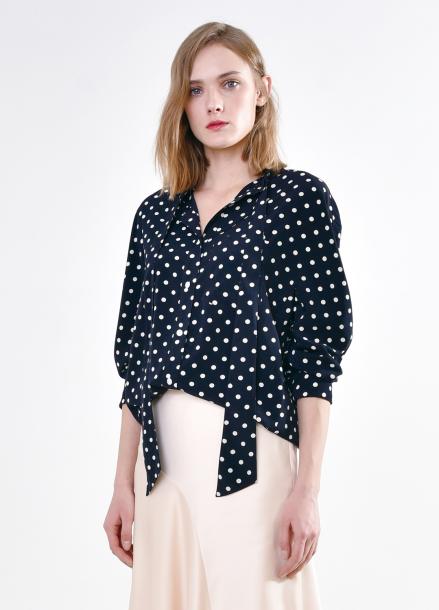 [PINBLACK] Dot tied neck blouse NAVY