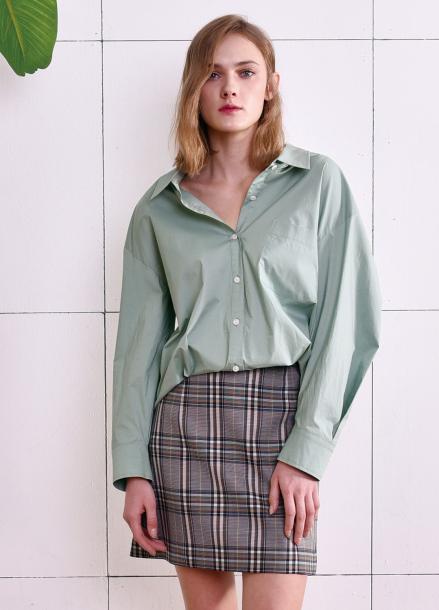 [PINBLACK] Deep collar over-size shirts MINT