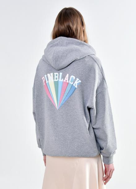 [PINBLACK/5%+5%SALE] rainbow over-size hodie GREY