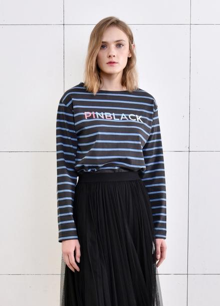 [PINBLACK] stripe rain-bow Tshirts GREY