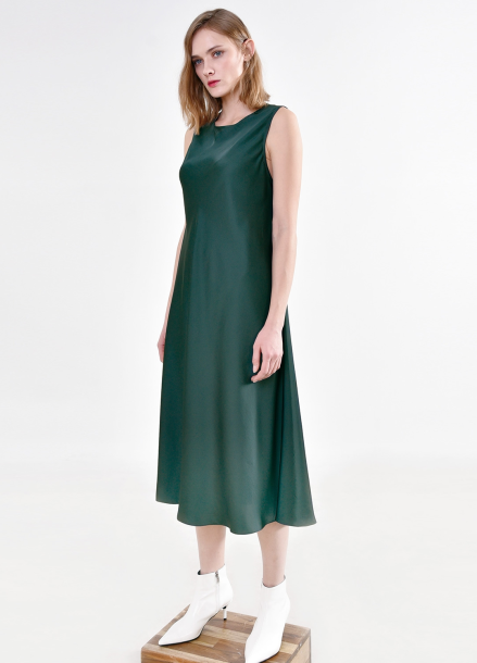[PINBLACK] 김현주착용 / satin fluid Dress GREEN
