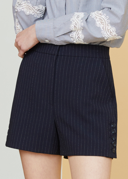 [MILLOGLEM/18SS 5%SALE]Side Button Pinstriped Shorts - dark navy