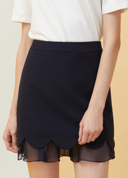 [MILLOGLEM/18SS 5%SALE]Petal Layered Skirt - navy