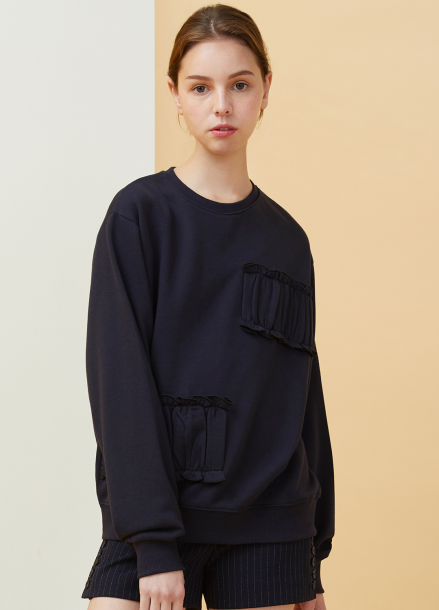 [MILLOGLEM/18SS 5%SALE]Partial Shirring Sweatshirts - navy