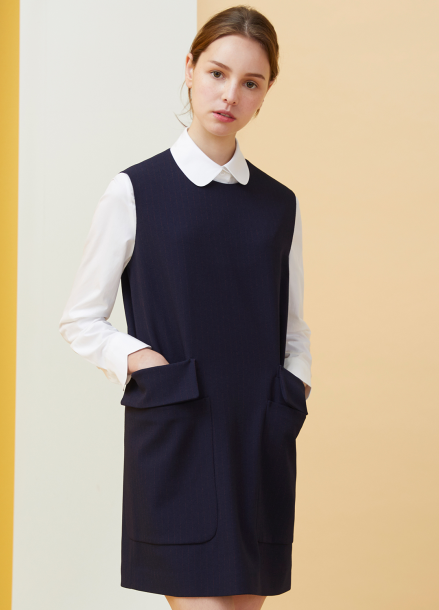 [MILLOGLEM/18SS 5%SALE]Double Pocket Pinstriped Dress - navy