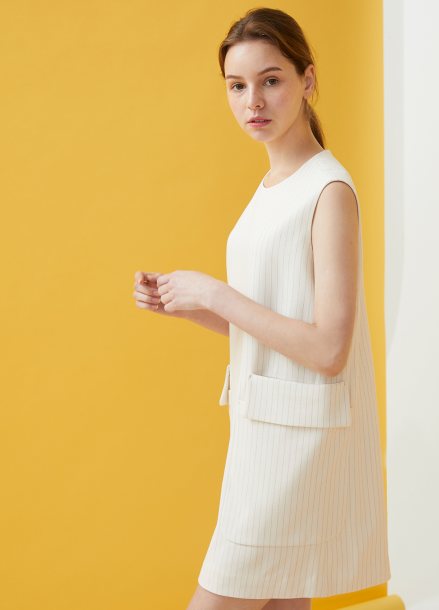 [MILLOGLEM/18SS 5%SALE]Double Pocket Pinstriped Dress - ivory