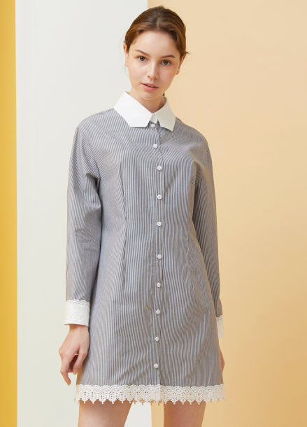 [MILLOGLEM/18SS 5%SALE]Polygon Collar Stripe Dress - black