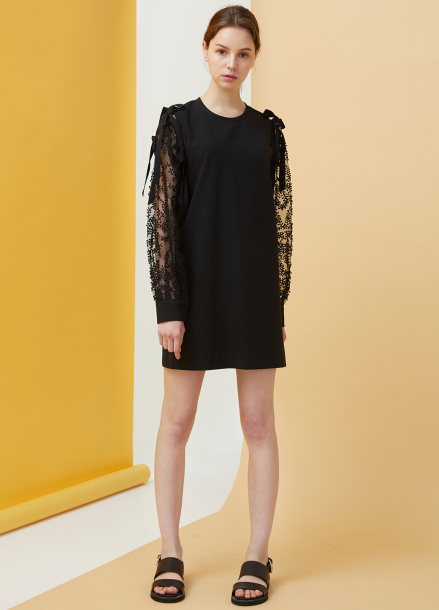 [MILLOGLEM/18SS 5%SALE]Bell Laced Dress - black