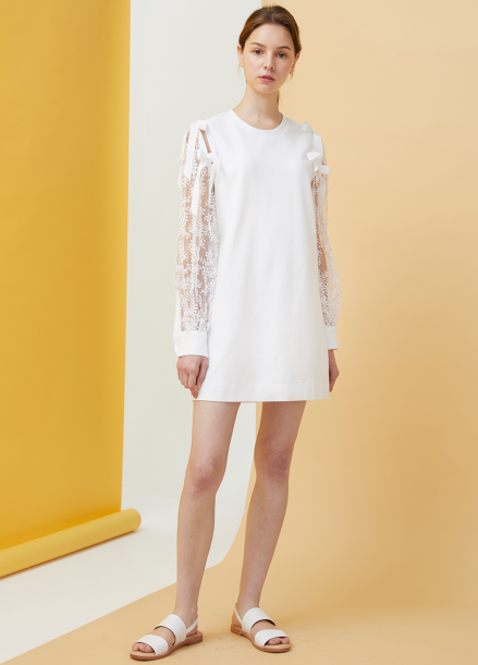 [MILLOGLEM/18SS 5%SALE]Bell Laced Dress - white