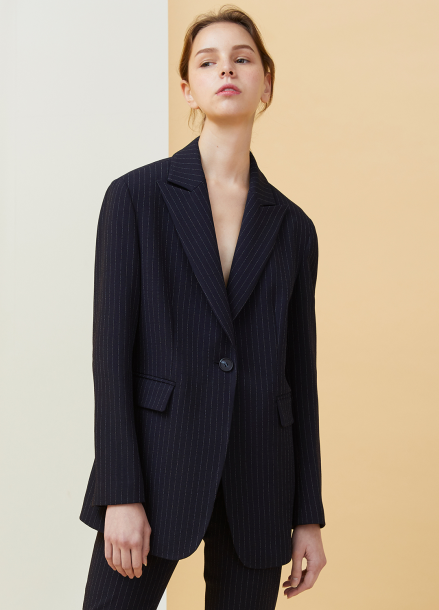[MILLOGLEM/18SS 5%SALE]Peaked Lapel Pinstriped Jacket - dark navy