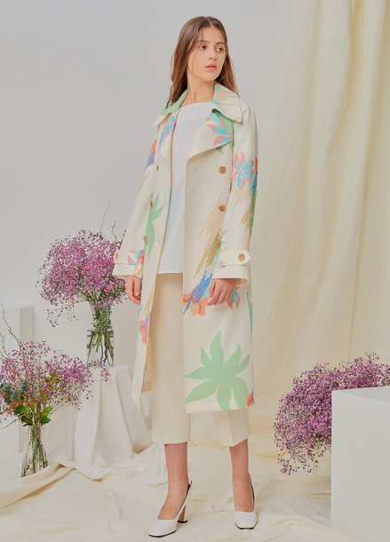 [NUPARCC/18SS 신상5%+5%쿠폰] [Order-Made] Painted Floral Trench