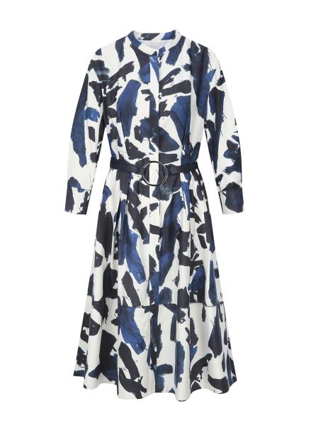 Blue Print O-Belt Dress