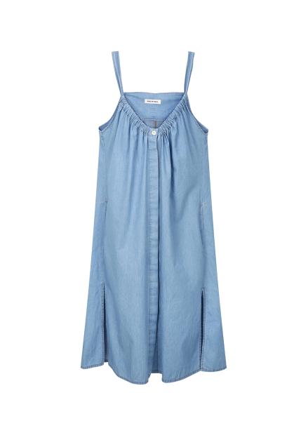 [40%] Denim Shirring Overall Dress