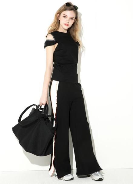 [ATICLE/18SS 신상 5%+5%쿠폰] 18SS Slit wide pants - BLACK